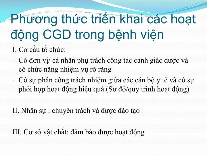 Phương thức triển khai các hoạt động CGD trong bệnh viện