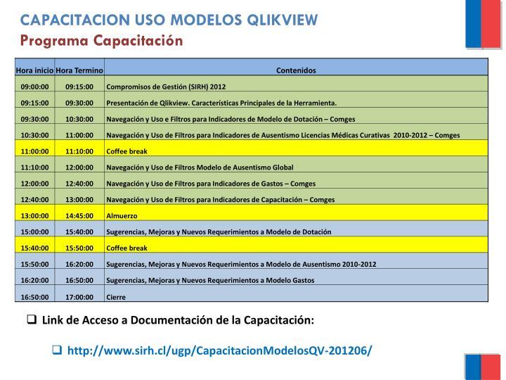 CAPACITACION USO MODELOS QLIKVIEW