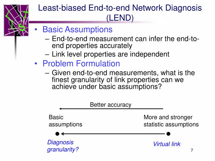 Least-biased End-to-end Network Diagnosis (LEND)