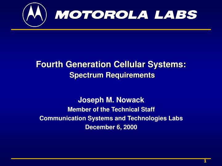 Fourth generation cellular systems spectrum requirements