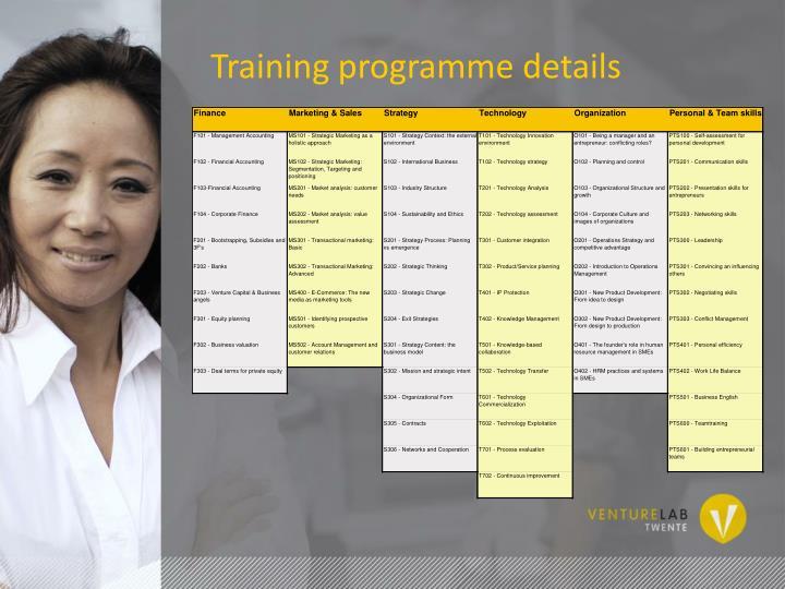 Training programme details