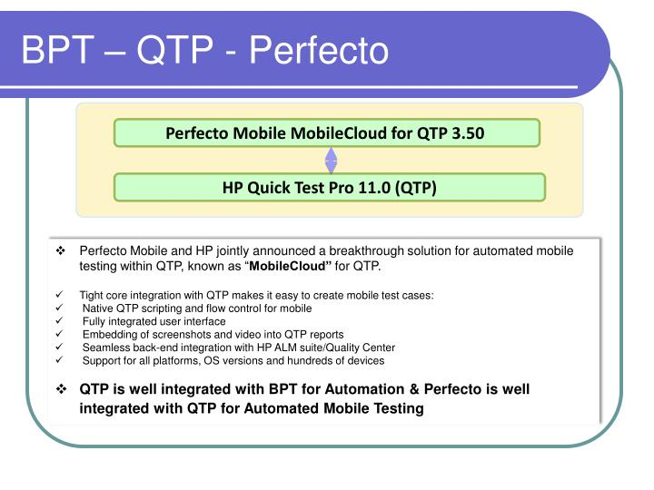 Perfecto Mobile MobileCloud for QTP 3.50