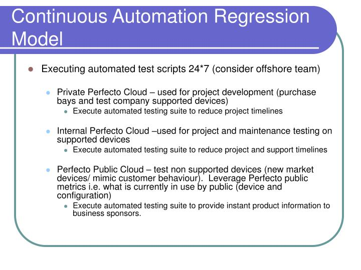 Continuous Automation Regression Model