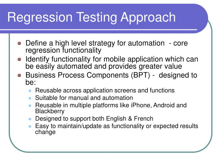 Regression Testing Approach