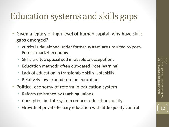 Education systems and skills gaps