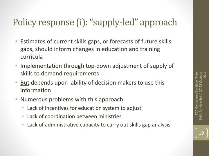 "Policy response (i): ""supply-led"" approach"