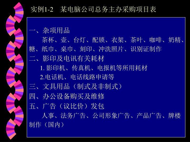 实例1-2    某电脑公司总务主办采购项目表