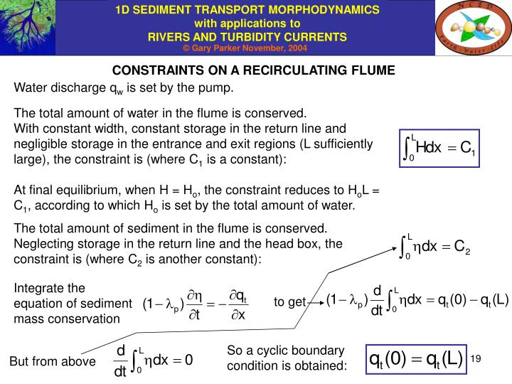 CONSTRAINTS ON A RECIRCULATING FLUME