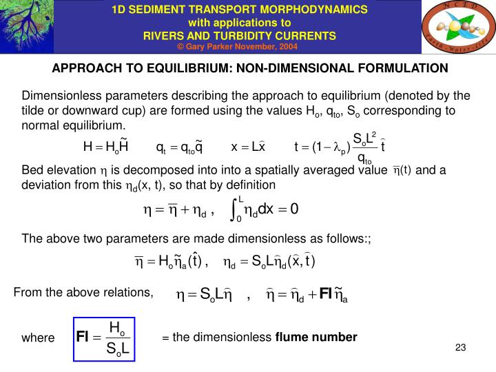 APPROACH TO EQUILIBRIUM: NON-DIMENSIONAL FORMULATION