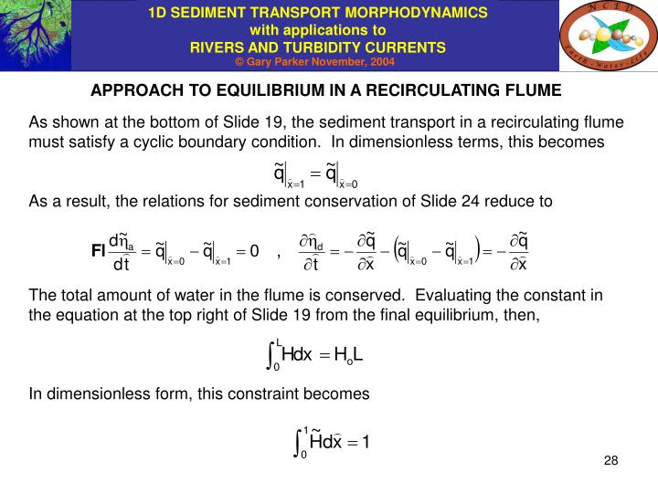APPROACH TO EQUILIBRIUM IN A RECIRCULATING FLUME