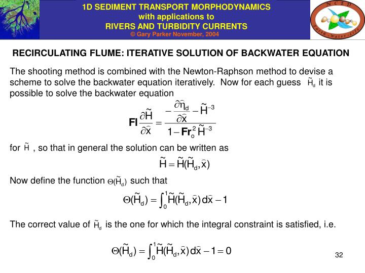 RECIRCULATING FLUME: ITERATIVE SOLUTION OF BACKWATER EQUATION