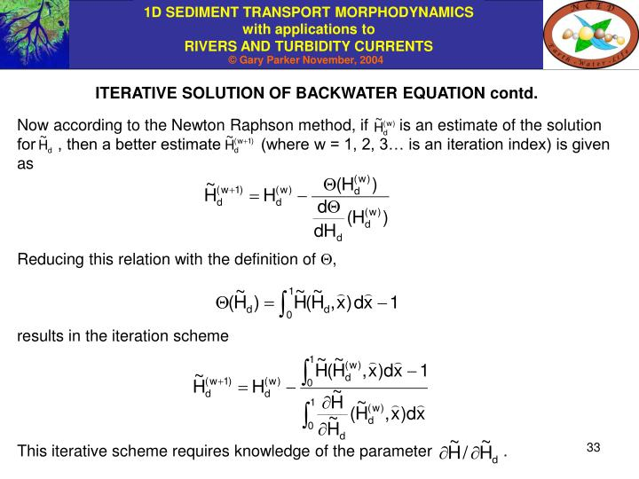 ITERATIVE SOLUTION OF BACKWATER EQUATION contd.