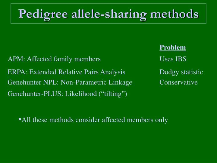 Pedigree allele-sharing methods