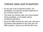 interest rates and investment