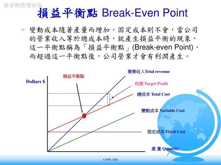變動成本隨著產量而增加,固定成本則不會,當公司的營業收入等於總成本時,就產生損益平衡的現象,這一平衡點稱為「損益平衡點」