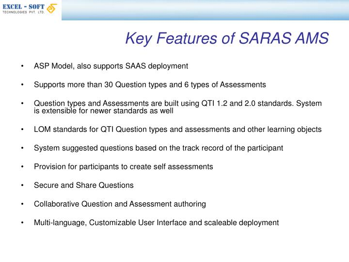 Key Features of SARAS AMS