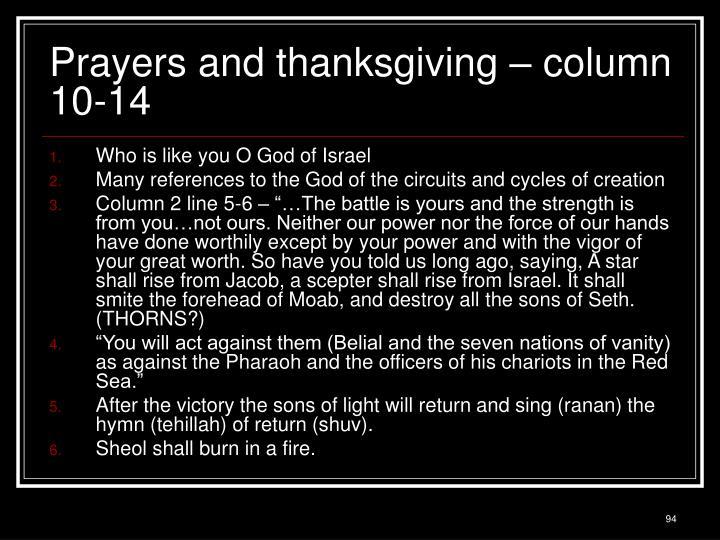 Prayers and thanksgiving – column 10-14