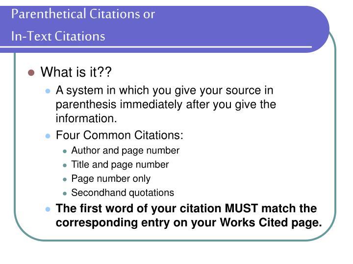 Parenthetical Citations or