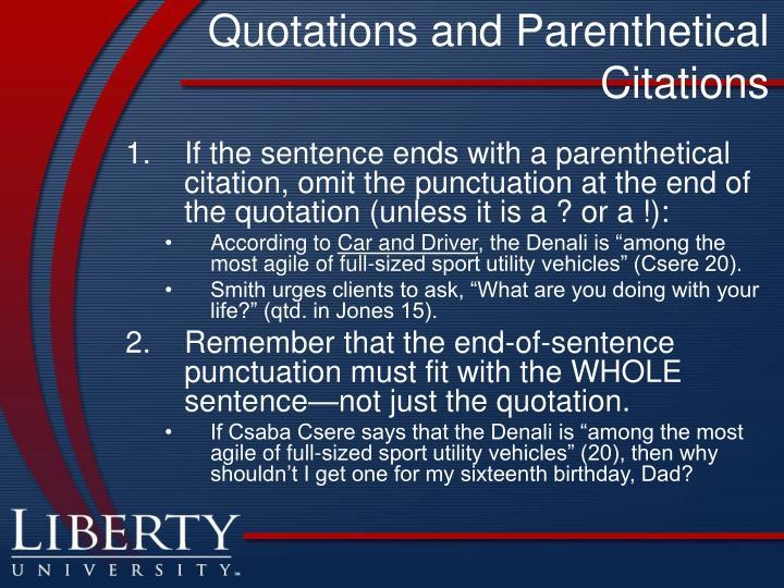 Quotations and Parenthetical Citations