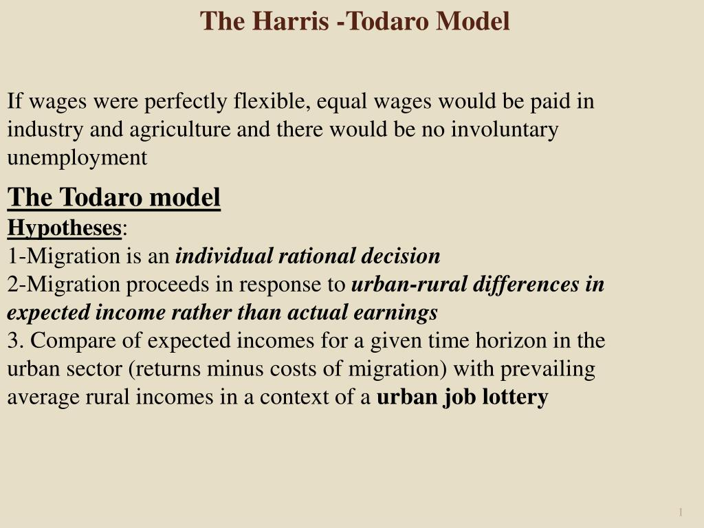 PPT - The Todaro model Hypotheses : 1-Migration is an individual rational  decision PowerPoint Presentation - ID:6616744