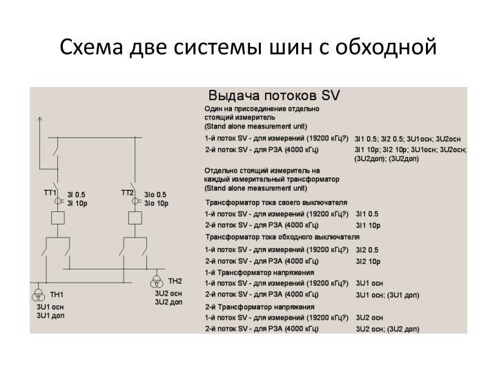 Схема две системы шин с обходной