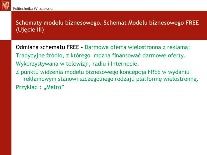 Schematy modelu biznesowego. Schemat Modelu biznesowego FREE (Ujęcie III)