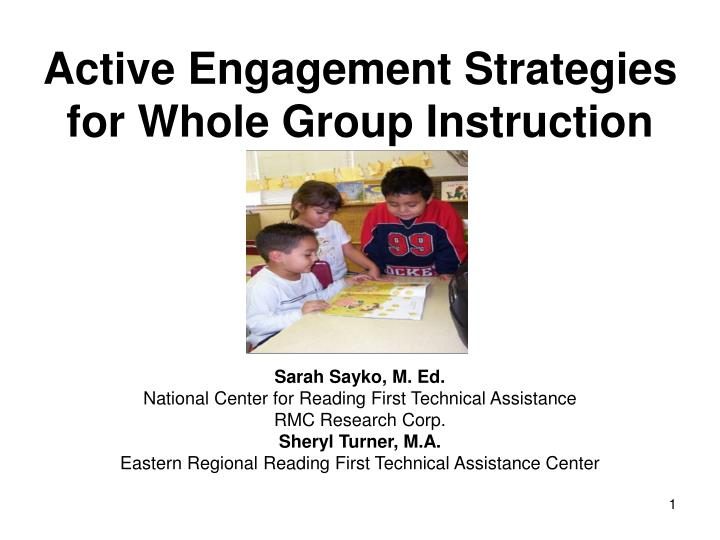 Ppt Active Engagement Strategies For Whole Group Instruction