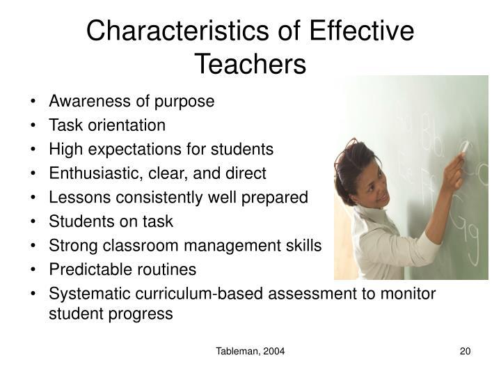 Characteristics of Effective Teachers