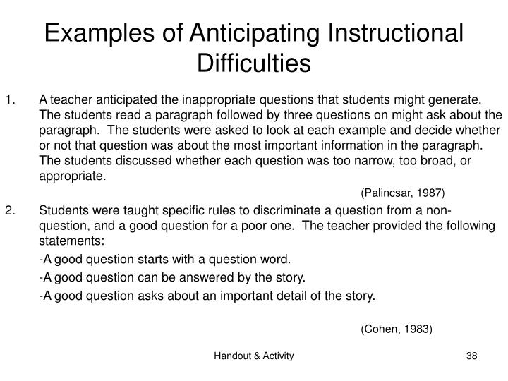 Examples of Anticipating Instructional Difficulties