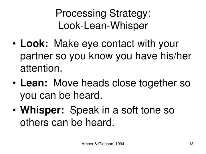 Processing Strategy: