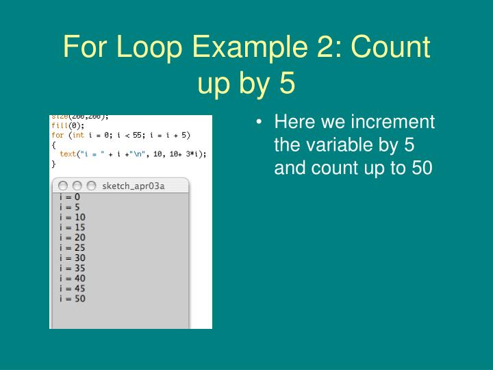 For Loop Example 2: Count up by 5