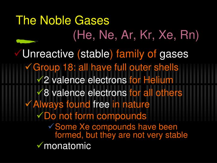The Noble Gases