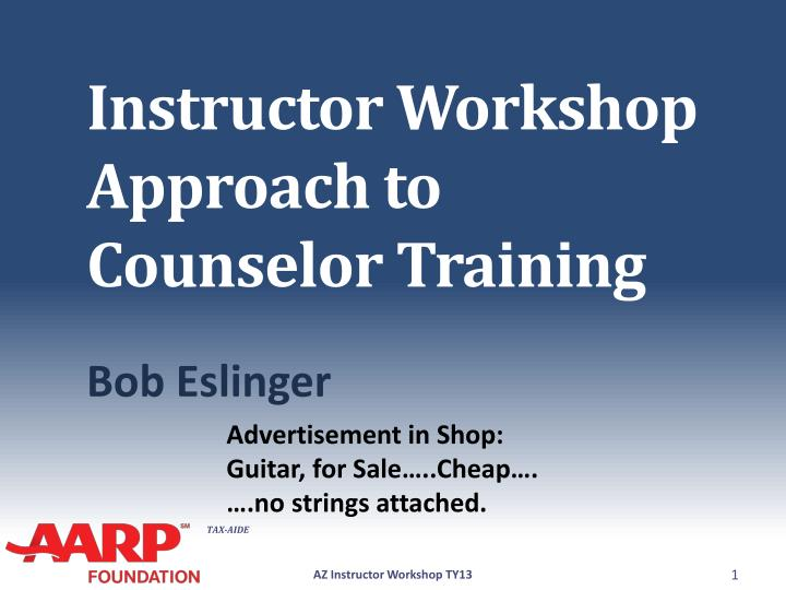 instructor workshop approach to counselor training
