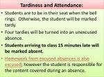 tardiness and attendance