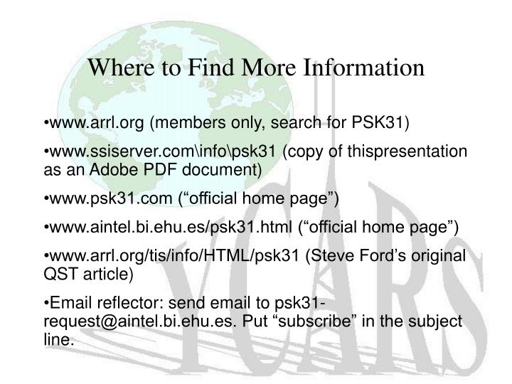 Where to Find More Information