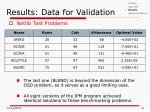 results data for validation