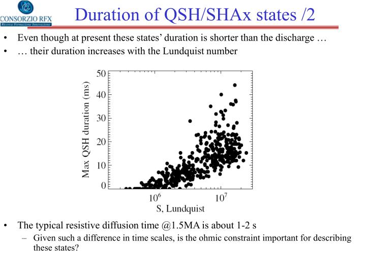 Duration of QSH/SHAx states /2