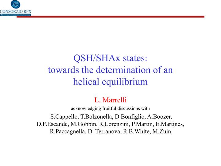 Qsh shax states towards the determination of an helical equilibrium