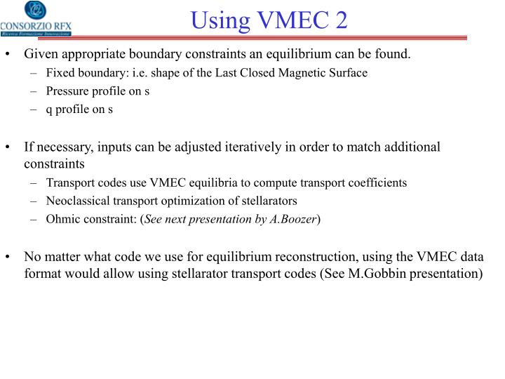 Using VMEC 2