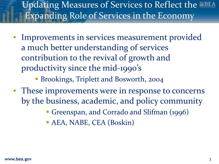 Updating measures of services to reflect the expanding role of services in the economy1