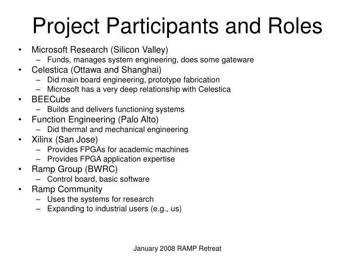 Project Participants and Roles