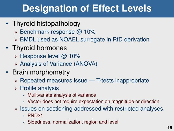 Designation of Effect Levels