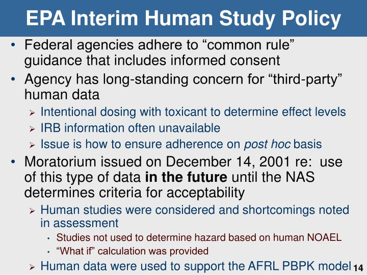 EPA Interim Human Study Policy