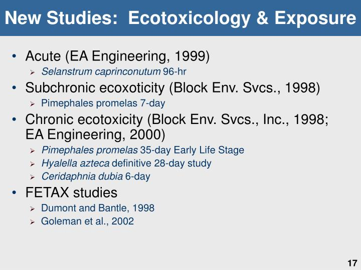 New Studies:  Ecotoxicology & Exposure