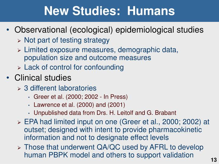 New Studies:  Humans