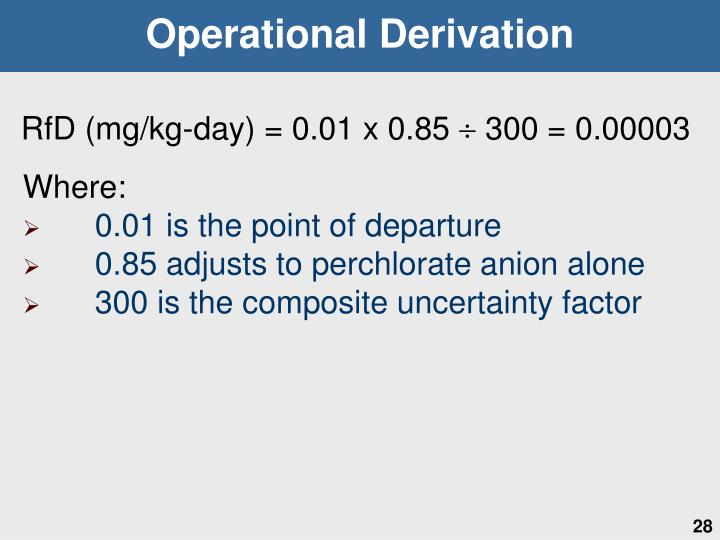 Operational Derivation