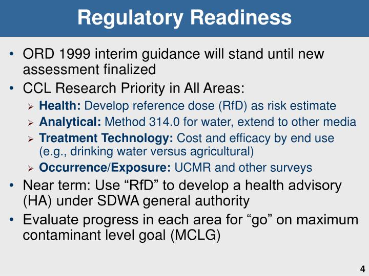 Regulatory Readiness