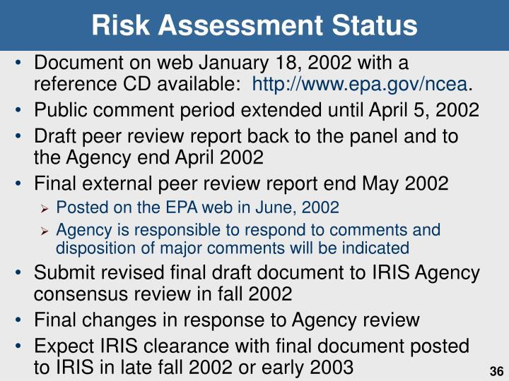 Risk Assessment Status