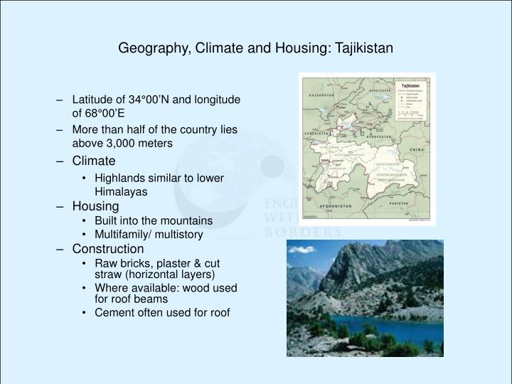 Geography, Climate and Housing: Tajikistan