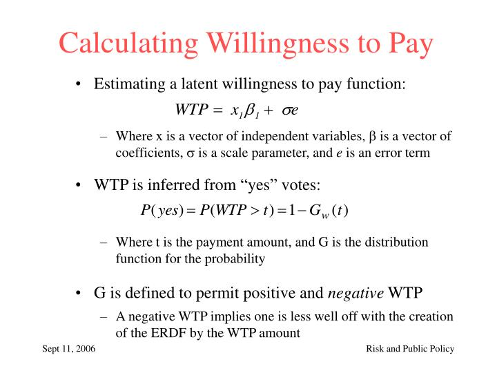 Calculating Willingness to Pay